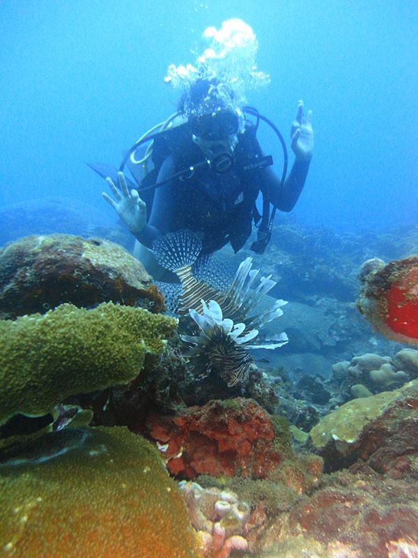 Taucher vor farbenfrohem Seeboden